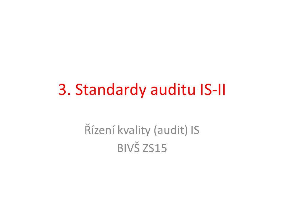 ISO/IEC 15504 Posuzování softwarového procesu (Software Process Improvement and Capability Determination) – SPICE Mezinárodní rámec pro hodnocení procesů Úzce spojen s normou ISO 12207 – Referenční model softwarového procesu V roce 2004 při revizi se oddělily – nyní pouze pro hodnocení zralosti, význam pro auditory 5 dimenzí procesů: zákazník/dodavatel, inženýrství, podpora, řízení a organizace Zralost procesů se měří pomocí atributů procesu: výkonnost procesů, řízení procesů, definice, rozmístění, měření, kontrola, inovace a optimalizace procesu Každý z těchto atributů se hodnotí pětibodovou stupnicí od nedosaženo (not achieved) až po plně dosaženo (fully achieved)