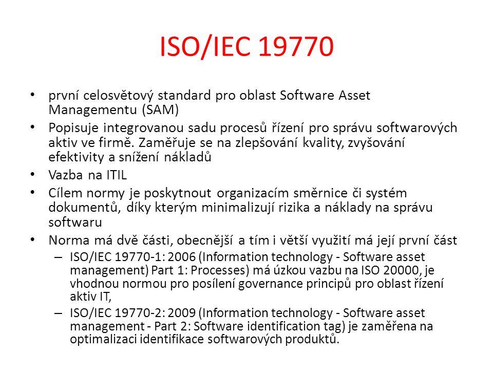 ISO/IEC 19770 první celosvětový standard pro oblast Software Asset Managementu (SAM) Popisuje integrovanou sadu procesů řízení pro správu softwarových aktiv ve firmě.