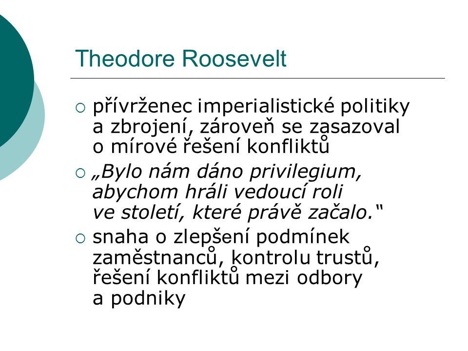 """Theodore Roosevelt  přívrženec imperialistické politiky a zbrojení, zároveň se zasazoval o mírové řešení konfliktů  """"Bylo nám dáno privilegium, abychom hráli vedoucí roli ve století, které právě začalo.  snaha o zlepš e ní podmínek zaměstnanců, kontrolu trustů, řešení konfliktů mezi odbory a podniky"""