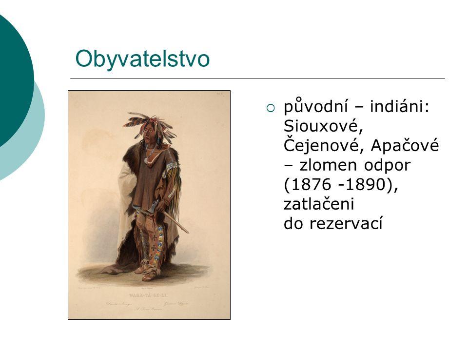 Obyvatelstvo  původní – indiáni: Siouxové, Čejenové, Apačové – zlomen odpor (1876 -1890), zatlačeni do rezervací