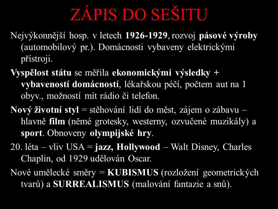 ZÁPIS DO SEŠITU Nejvýkonnější hosp. v letech 1926-1929, rozvoj pásové výroby (automobilový pr.).