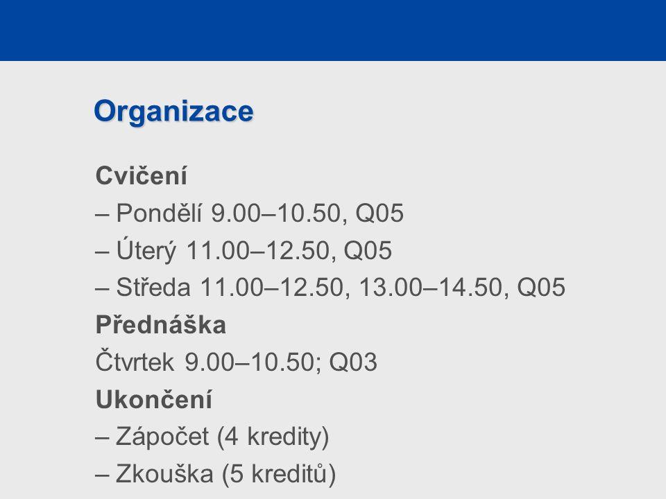 Organizace Cvičení –Pondělí 9.00–10.50, Q05 –Úterý 11.00–12.50, Q05 –Středa 11.00–12.50, 13.00–14.50, Q05 Přednáška Čtvrtek 9.00–10.50; Q03 Ukončení –Zápočet (4 kredity) –Zkouška (5 kreditů)