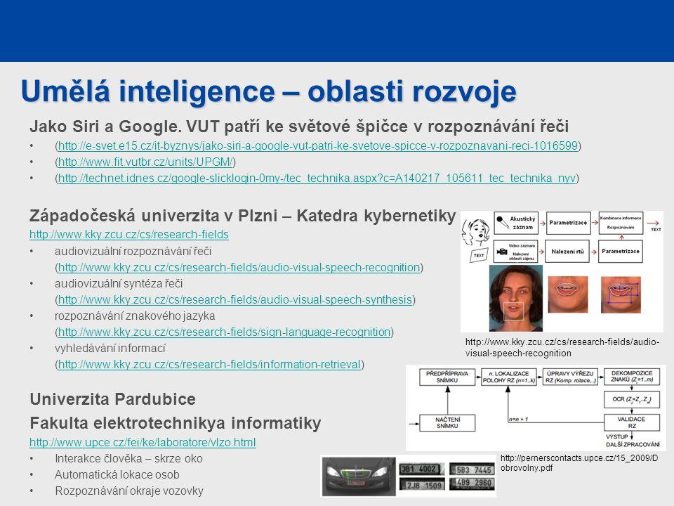 Umělá inteligence – oblasti rozvoje Jako Siri a Google.