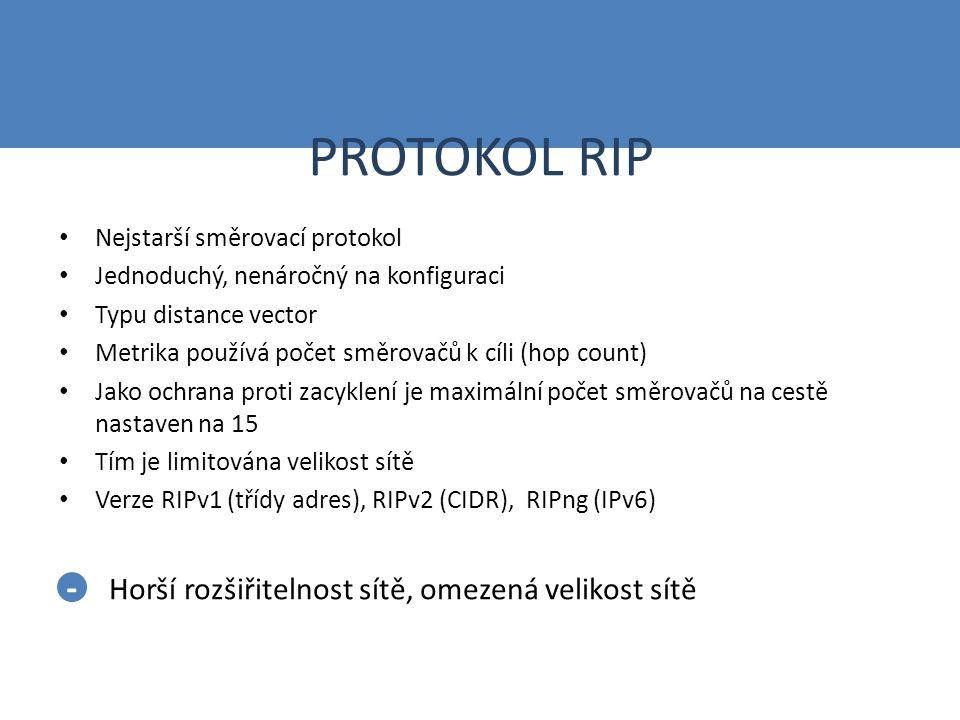 PROTOKOL RIP Nejstarší směrovací protokol Jednoduchý, nenáročný na konfiguraci Typu distance vector Metrika používá počet směrovačů k cíli (hop count) Jako ochrana proti zacyklení je maximální počet směrovačů na cestě nastaven na 15 Tím je limitována velikost sítě Verze RIPv1 (třídy adres), RIPv2 (CIDR), RIPng (IPv6) Horší rozšiřitelnost sítě, omezená velikost sítě -