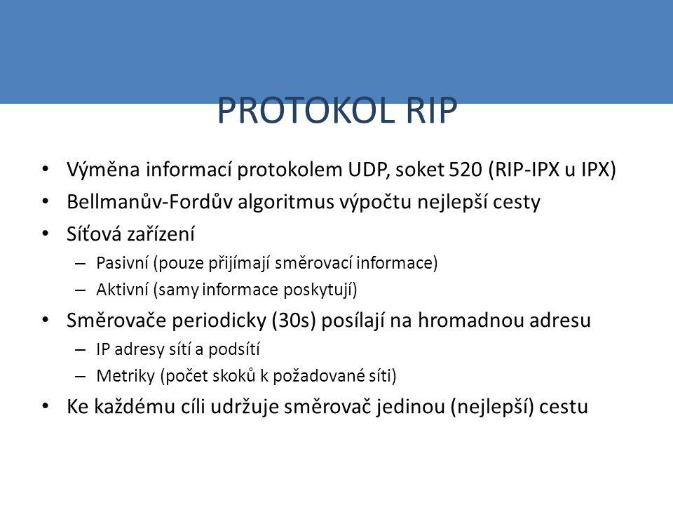 PROTOKOL RIP Výměna informací protokolem UDP, soket 520 (RIP-IPX u IPX) Bellmanův-Fordův algoritmus výpočtu nejlepší cesty Síťová zařízení – Pasivní (pouze přijímají směrovací informace) – Aktivní (samy informace poskytují) Směrovače periodicky (30s) posílají na hromadnou adresu – IP adresy sítí a podsítí – Metriky (počet skoků k požadované síti) Ke každému cíli udržuje směrovač jedinou (nejlepší) cestu