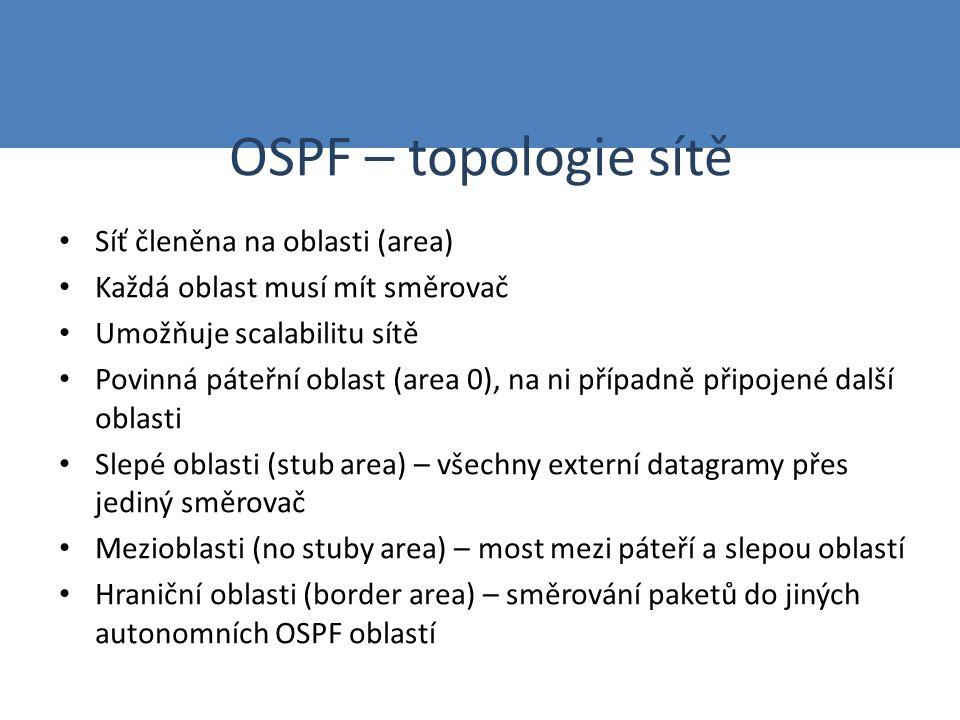OSPF – topologie sítě Síť členěna na oblasti (area) Každá oblast musí mít směrovač Umožňuje scalabilitu sítě Povinná páteřní oblast (area 0), na ni případně připojené další oblasti Slepé oblasti (stub area) – všechny externí datagramy přes jediný směrovač Mezioblasti (no stuby area) – most mezi páteří a slepou oblastí Hraniční oblasti (border area) – směrování paketů do jiných autonomních OSPF oblastí