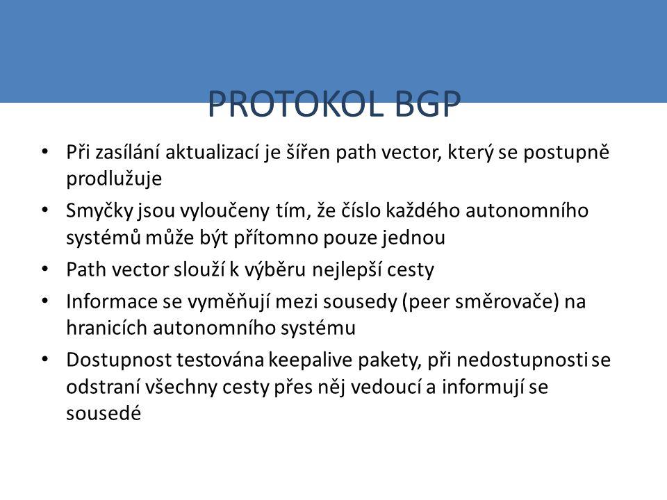 PROTOKOL BGP Při zasílání aktualizací je šířen path vector, který se postupně prodlužuje Smyčky jsou vyloučeny tím, že číslo každého autonomního systémů může být přítomno pouze jednou Path vector slouží k výběru nejlepší cesty Informace se vyměňují mezi sousedy (peer směrovače) na hranicích autonomního systému Dostupnost testována keepalive pakety, při nedostupnosti se odstraní všechny cesty přes něj vedoucí a informují se sousedé