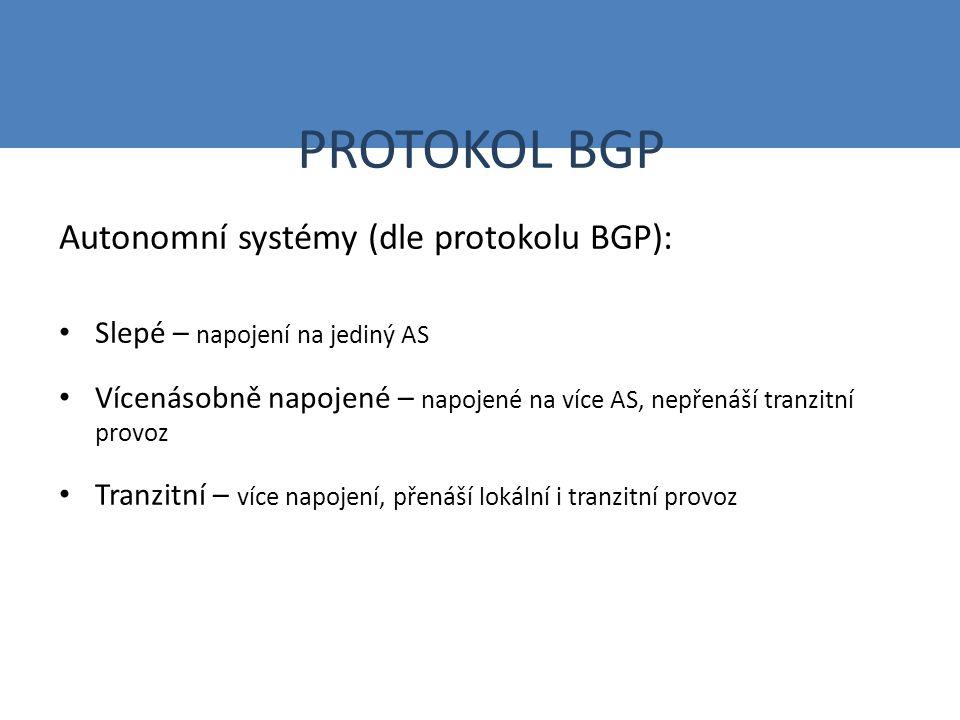 PROTOKOL BGP Autonomní systémy (dle protokolu BGP): Slepé – napojení na jediný AS Vícenásobně napojené – napojené na více AS, nepřenáší tranzitní provoz Tranzitní – více napojení, přenáší lokální i tranzitní provoz