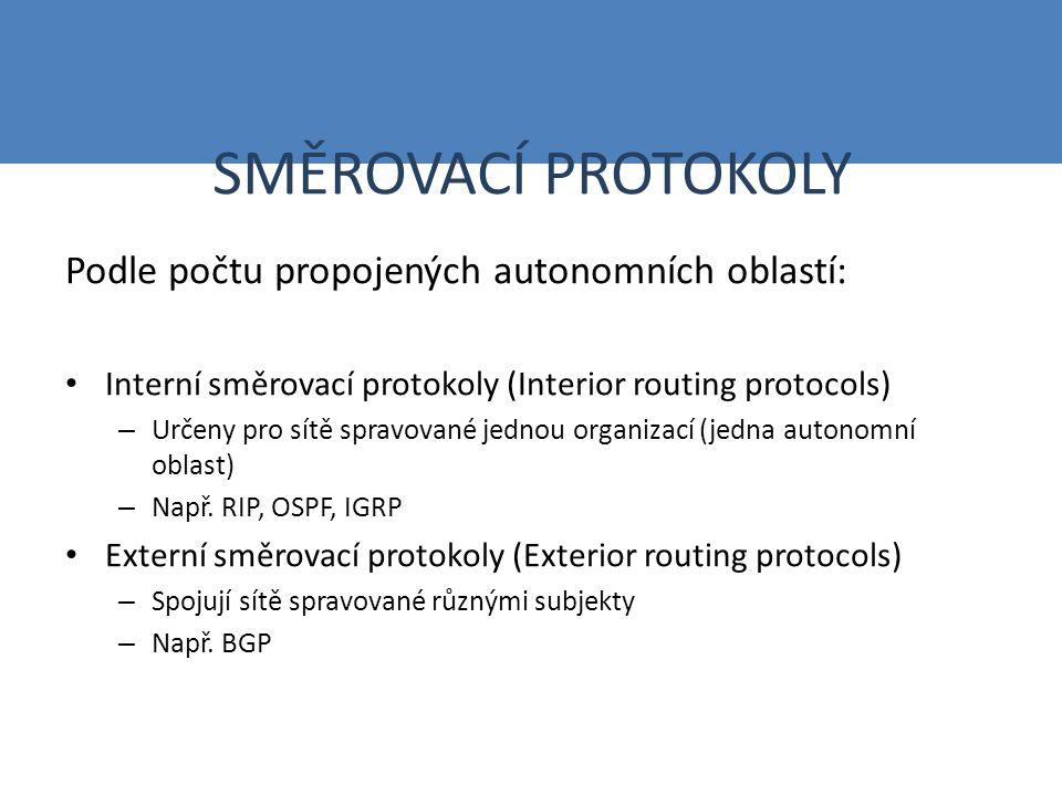 SMĚROVACÍ PROTOKOLY Podle počtu propojených autonomních oblastí: Interní směrovací protokoly (Interior routing protocols) – Určeny pro sítě spravované jednou organizací (jedna autonomní oblast) – Např.