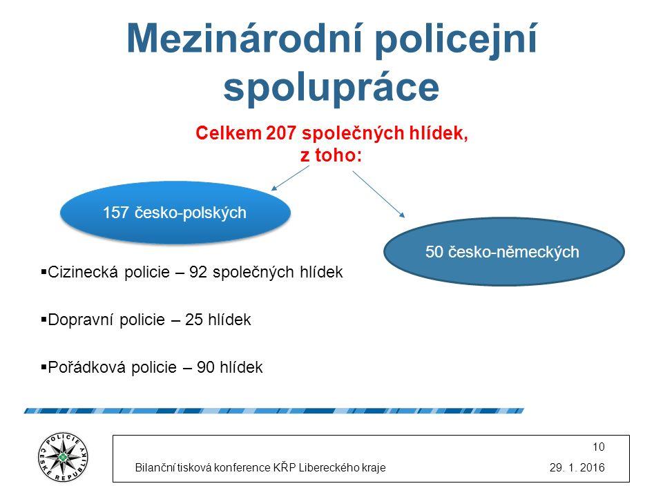 Mezinárodní policejní spolupráce Celkem 207 společných hlídek, z toho:  Cizinecká policie – 92 společných hlídek  Dopravní policie – 25 hlídek  Poř