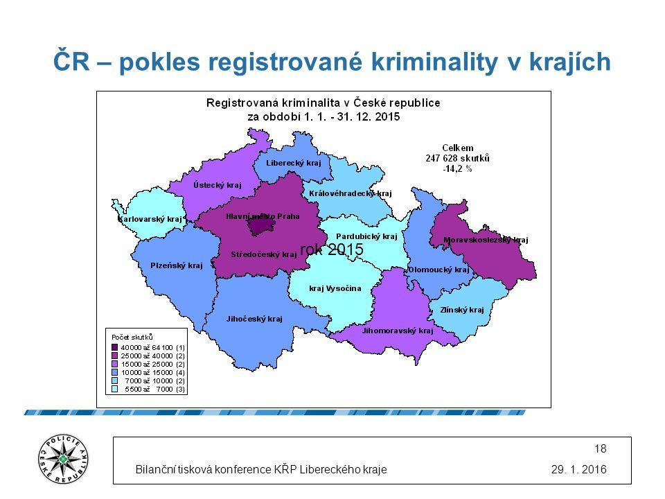 ČR – pokles registrované kriminality v krajích 29. 1. 2016Bilanční tisková konference KŘP Libereckého kraje 18 rok 2015