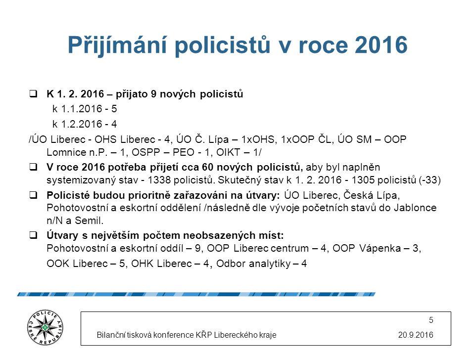 Přijímání policistů v roce 2016  K 1. 2. 2016 – přijato 9 nových policistů k 1.1.2016 - 5 k 1.2.2016 - 4 /ÚO Liberec - OHS Liberec - 4, ÚO Č. Lípa –