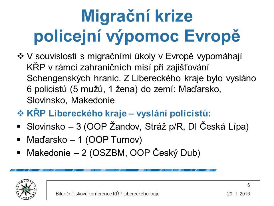 Migrační krize policejní výpomoc Evropě  V souvislosti s migračními úkoly v Evropě vypomáhají KŘP v rámci zahraničních misí při zajišťování Schengens