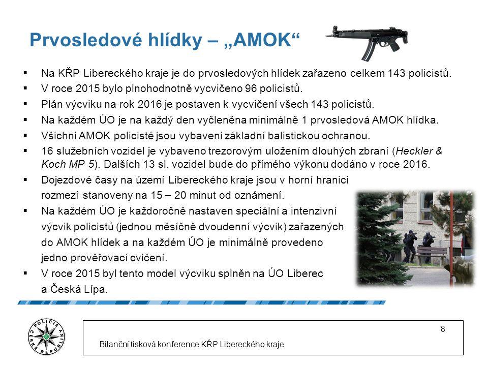 """Prvosledové hlídky – """"AMOK""""  Na KŘP Libereckého kraje je do prvosledových hlídek zařazeno celkem 143 policistů.  V roce 2015 bylo plnohodnotně vycvi"""