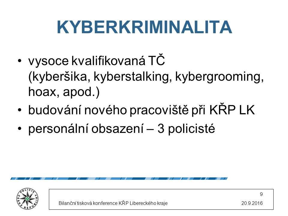 KYBERKRIMINALITA vysoce kvalifikovaná TČ (kyberšika, kyberstalking, kybergrooming, hoax, apod.) budování nového pracoviště při KŘP LK personální obsaz