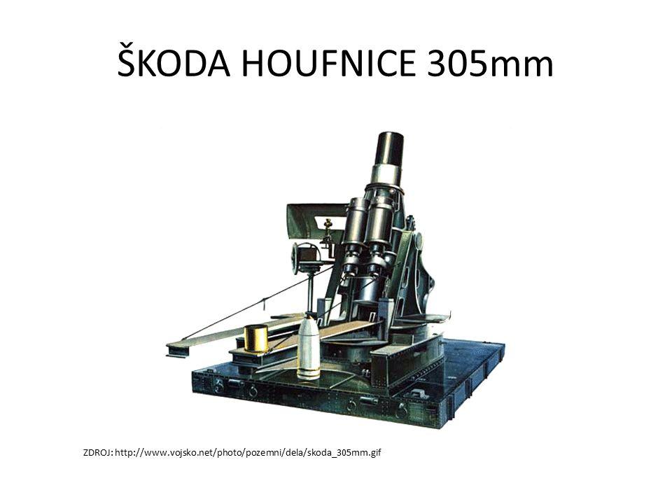 ŠKODA HOUFNICE 305mm ZDROJ: http://www.vojsko.net/photo/pozemni/dela/skoda_305mm.gif