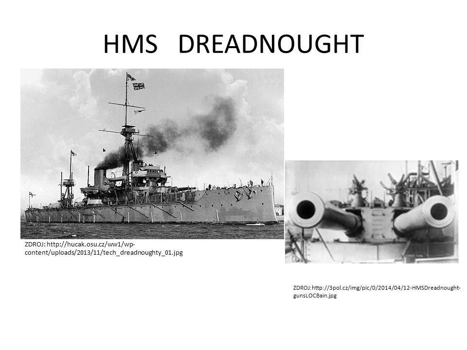 HMS DREADNOUGHT ZDROJ: http://hucak.osu.cz/ww1/wp- content/uploads/2013/11/tech_dreadnoughty_01.jpg ZDROJ:http://3pol.cz/img/pic/0/2014/04/12-HMSDreadnought- gunsLOCBain.jpg