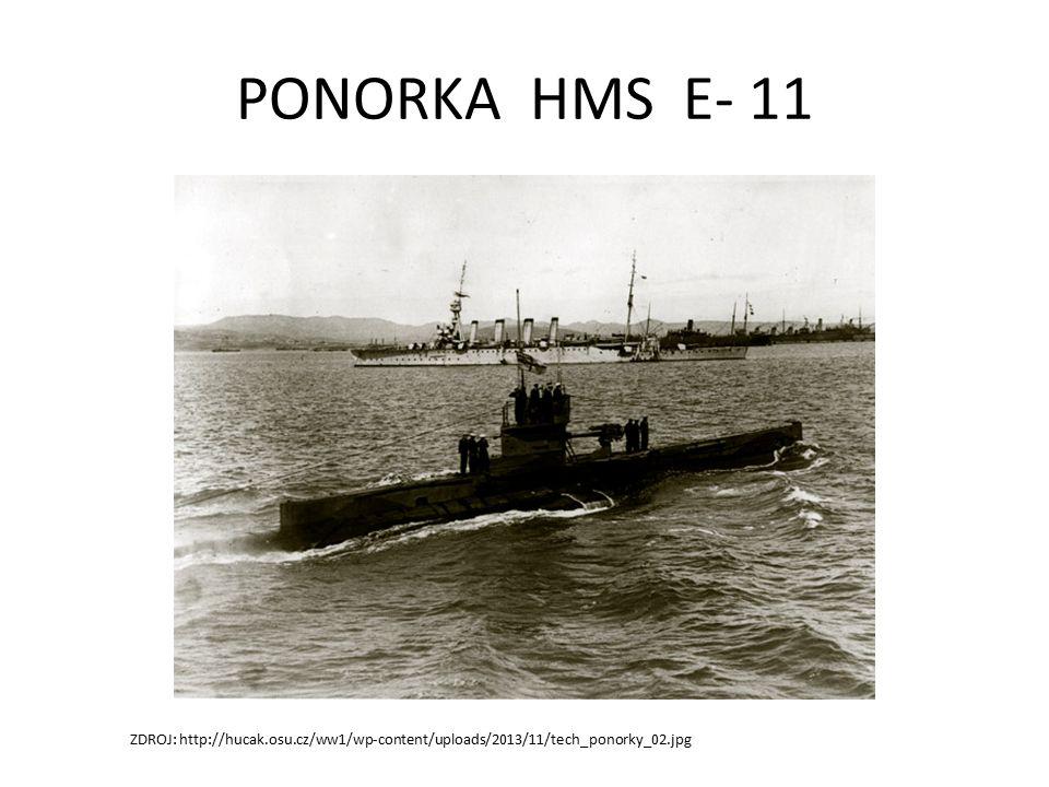 PONORKA HMS E- 11 ZDROJ: http://hucak.osu.cz/ww1/wp-content/uploads/2013/11/tech_ponorky_02.jpg