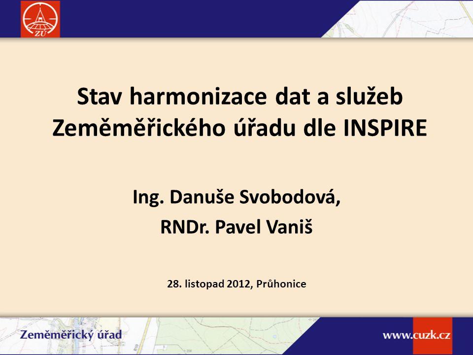 Stav harmonizace dat a služeb Zeměměřického úřadu dle INSPIRE Ing. Danuše Svobodová, RNDr. Pavel Vaniš 28. listopad 2012, Průhonice