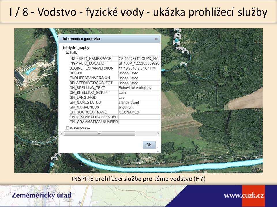 I / 8 - Vodstvo - fyzické vody - ukázka prohlížecí služby INSPIRE prohlížecí služba pro téma vodstvo (HY)