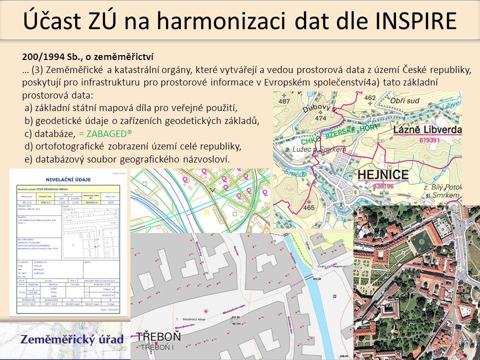Účast ZÚ na harmonizaci dat dle INSPIRE 200/1994 Sb., o zeměměřictví … (3) Zeměměřické a katastrální orgány, které vytvářejí a vedou prostorová data z