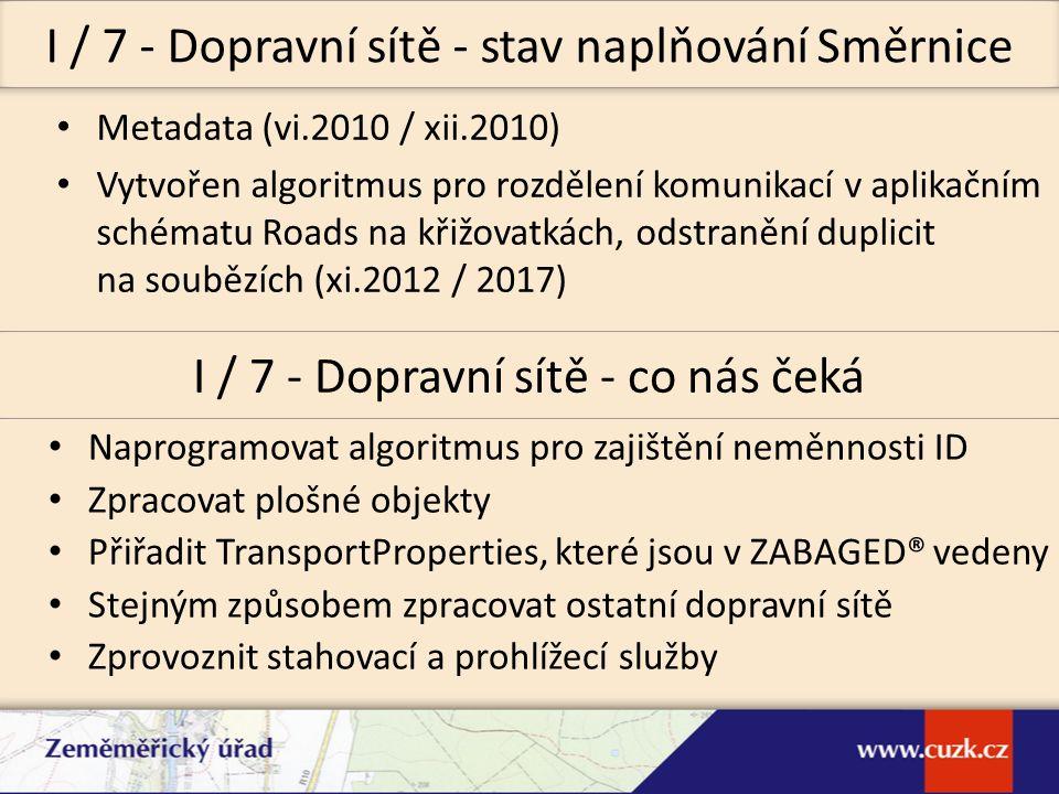 Metadata (vi.2010 / xii.2010) Vytvořen algoritmus pro rozdělení komunikací v aplikačním schématu Roads na křižovatkách, odstranění duplicit na soubězí