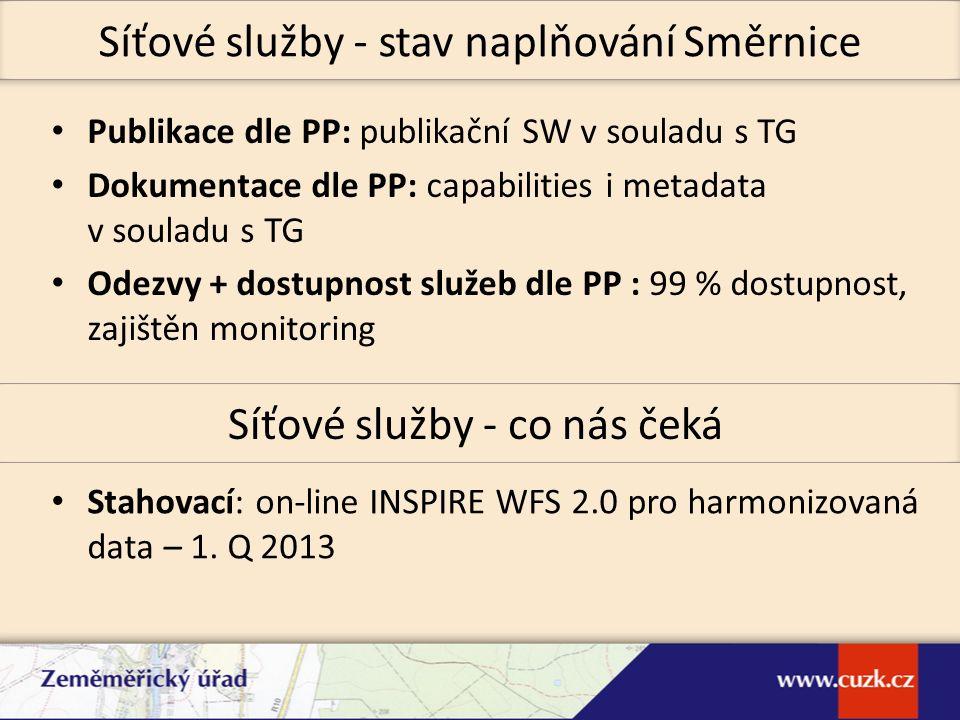 Publikace dle PP: publikační SW v souladu s TG Dokumentace dle PP: capabilities i metadata v souladu s TG Odezvy + dostupnost služeb dle PP : 99 % dos