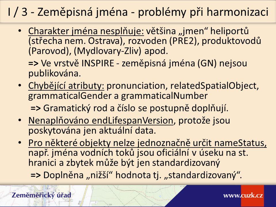 Vyhledávací INSPIRE discoveryservice 1.0 (CS-W 2.0.2) (xi.2011 / xi.2011) Prohlížecí INSPIRE viewservice 3.1 (WMS 1.3.0, WMTS 1.0.0) (xi.2011 / xi.2011) Stahovací offline: internetový obchod včetně GML 3.2.1 pro harmonizovaná data GN a HY - fyzické vodstvo), on-line: INSPIRE WFS 2.0 pro neharmonizovaná data (ix.2012/xii.2012), Transformační (transformace souřadnic) WCTS 0.4.0 (xi.2012/xii.2012) Síťové služby INSPIRE - co poskytujeme