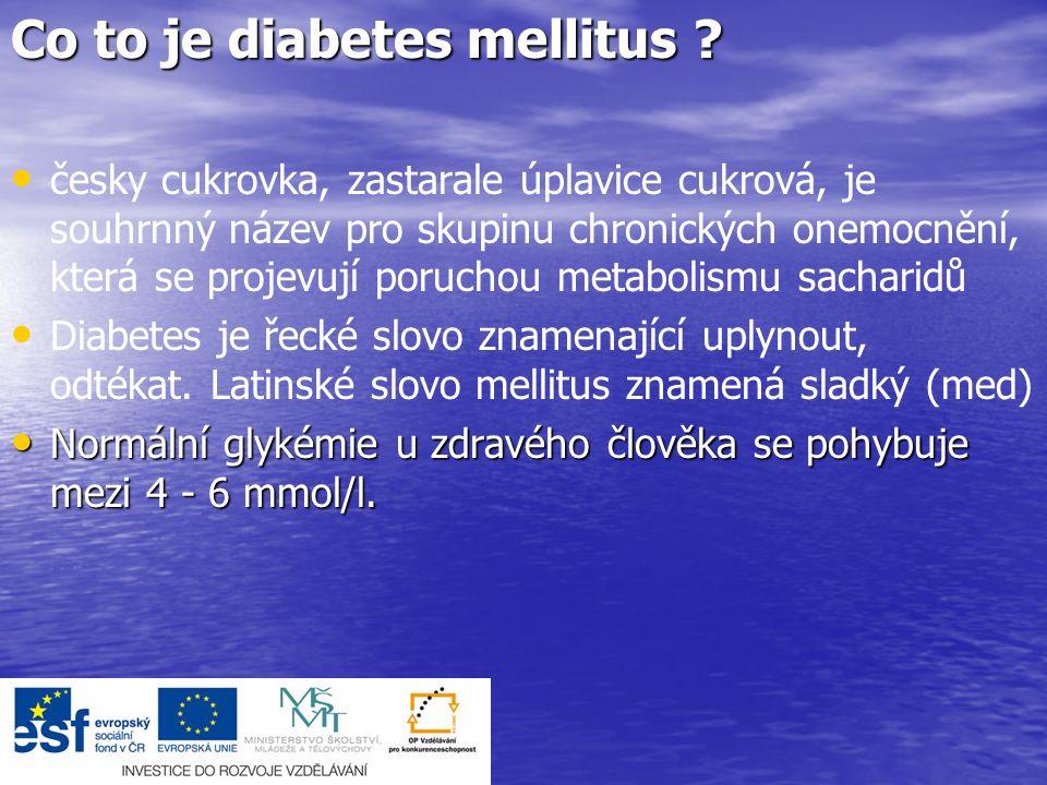 První pomoc: pokud je pacient při vědomí, podáme 3-5 kostek cukru pokud je pacient při vědomí, podáme 3-5 kostek cukru při poruše vědomí zajistíme základní životní funkce při poruše vědomí zajistíme základní životní funkce jestliže je k dispozici, podáme injekci Glukagonu 1mg do svalu (někteří diabetici jsou jím vybaveni) jestliže je k dispozici, podáme injekci Glukagonu 1mg do svalu (někteří diabetici jsou jím vybaveni) voláme rychlou lékařskou pomoc; nutno je podat glukózu do zajištěného žilního vstupu voláme rychlou lékařskou pomoc; nutno je podat glukózu do zajištěného žilního vstupuPříznaky: v úvodu neklid, pocit hladu, studený pot, rychlý tep v úvodu neklid, pocit hladu, studený pot, rychlý tep poté poruchy řeči, spavost, křeče, poruchy vědomí poté poruchy řeči, spavost, křeče, poruchy vědomí při delším průběhu hrozí trvalé poškození mozku.