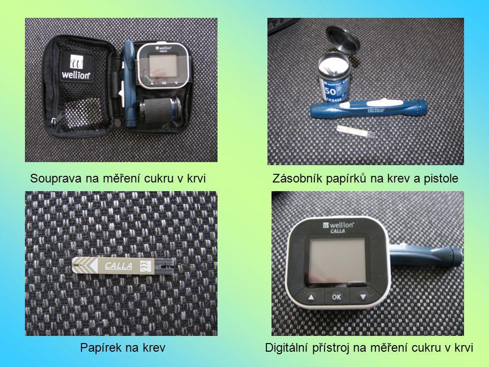 Souprava na měření cukru v krviZásobník papírků na krev a pistole Papírek na krevDigitální přístroj na měření cukru v krvi