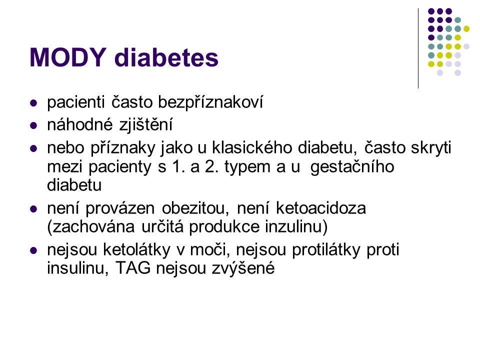 MODY diabetes pacienti často bezpříznakoví náhodné zjištění nebo příznaky jako u klasického diabetu, často skryti mezi pacienty s 1. a 2. typem a u ge