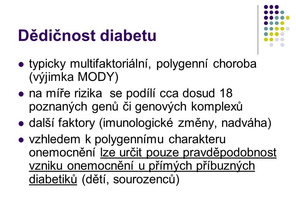 Dědičnost diabetu typicky multifaktoriální, polygenní choroba (výjimka MODY) na míře rizika se podílí cca dosud 18 poznaných genů či genových komplexů