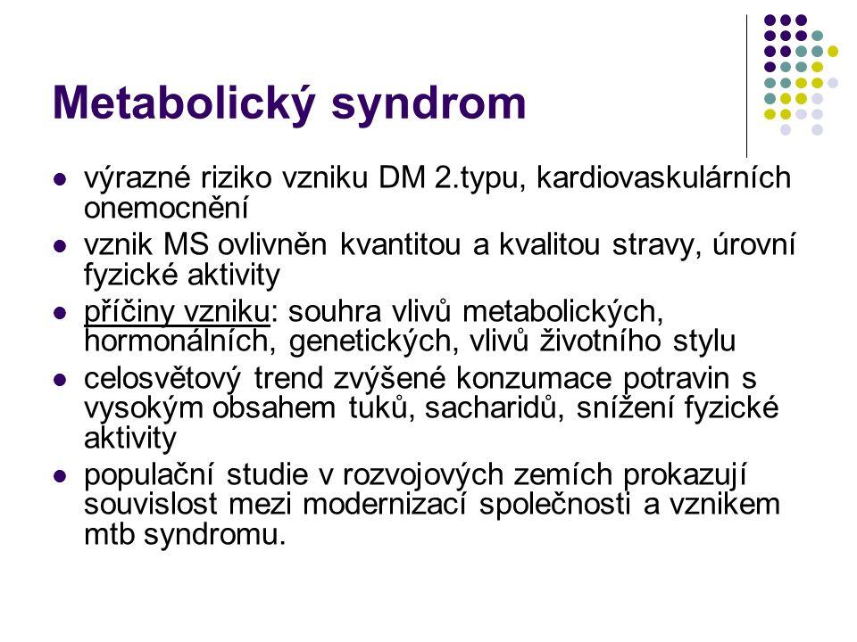 Metabolický syndrom výrazné riziko vzniku DM 2.typu, kardiovaskulárních onemocnění vznik MS ovlivněn kvantitou a kvalitou stravy, úrovní fyzické aktiv