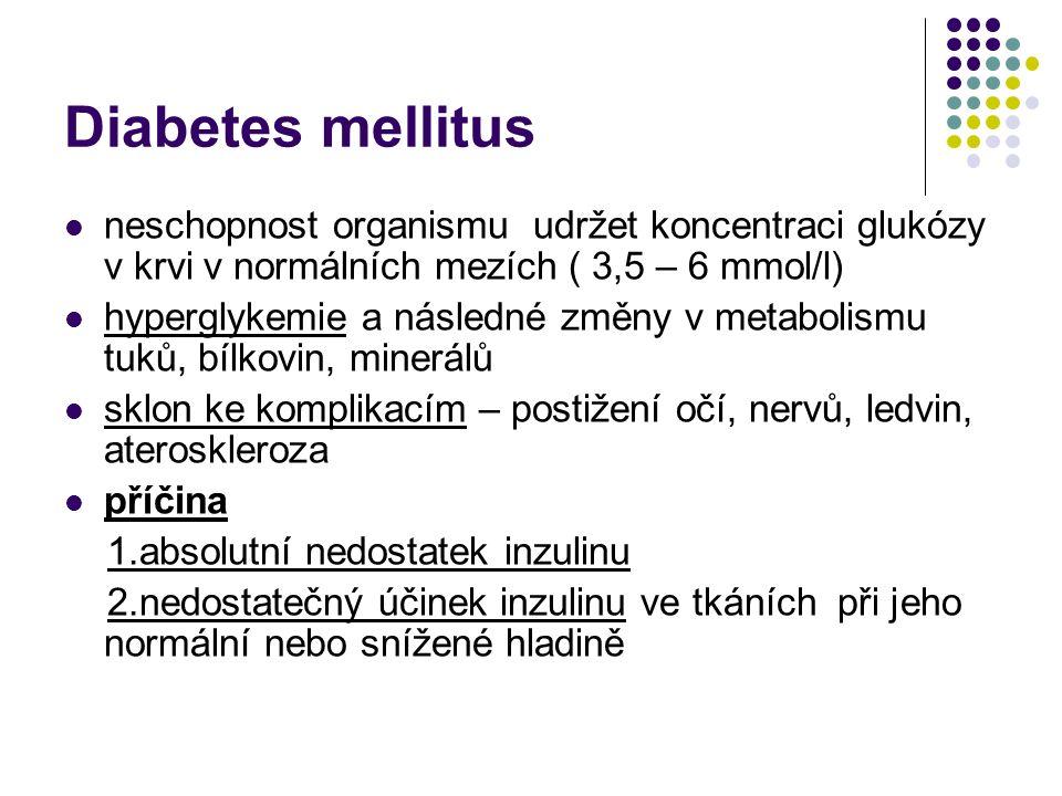 Diabetes mellitus absolutní nedostatek inzulínu: zvýšená tvorba ketokyselin s ketoacidózou, neschopnost přesunu glukózy z ECT do intracelulárního prostoru s následnou hyperglykemií, proteolýza v orgánech, následné chátrání kosterního svalstva, snížení proteosyntézy, snížení imunitních funkcí relativní nedostatek inzulínu nevede ke ketogenezi, jsou plně vyjádřeny příznaky hyperglykemie.