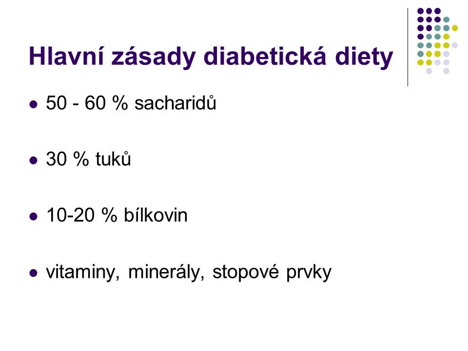 Hlavní zásady diabetická diety 50 - 60 % sacharidů 30 % tuků 10-20 % bílkovin vitaminy, minerály, stopové prvky