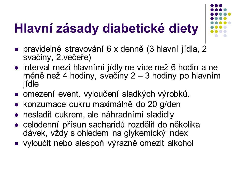 Hlavní zásady diabetické diety pravidelné stravování 6 x denně (3 hlavní jídla, 2 svačiny, 2.večeře) interval mezi hlavními jídly ne více než 6 hodin