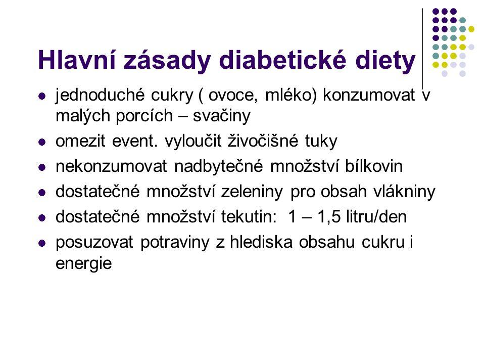 Hlavní zásady diabetické diety jednoduché cukry ( ovoce, mléko) konzumovat v malých porcích – svačiny omezit event. vyloučit živočišné tuky nekonzumov
