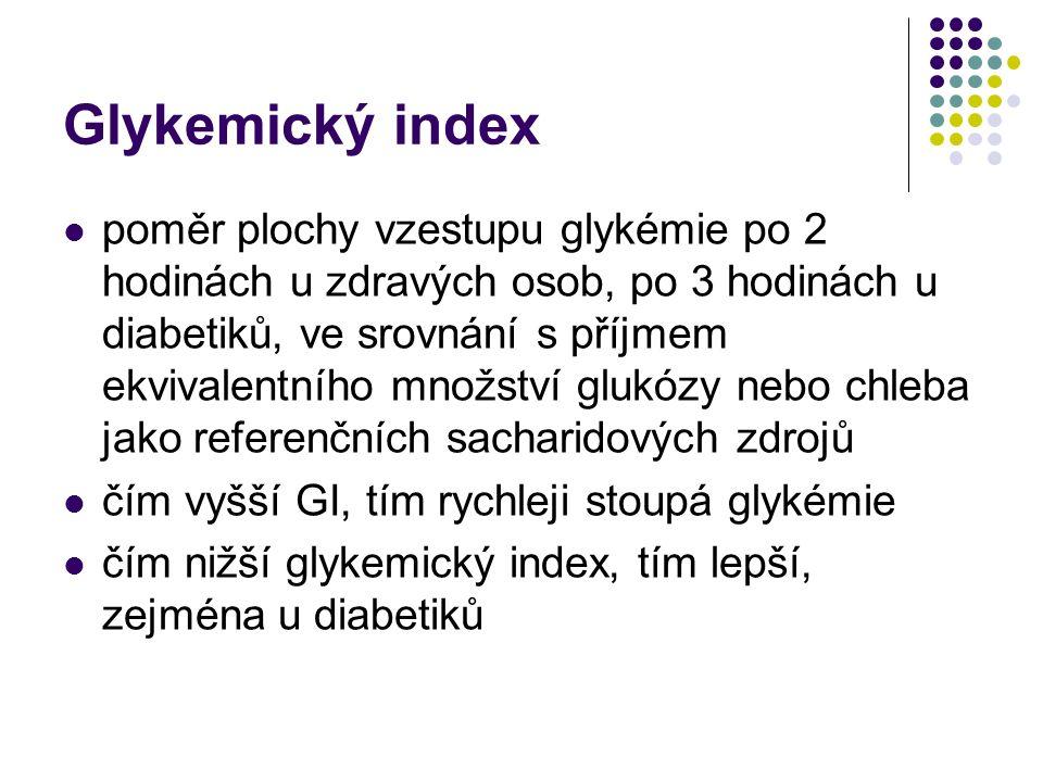 Glykemický index poměr plochy vzestupu glykémie po 2 hodinách u zdravých osob, po 3 hodinách u diabetiků, ve srovnání s příjmem ekvivalentního množstv