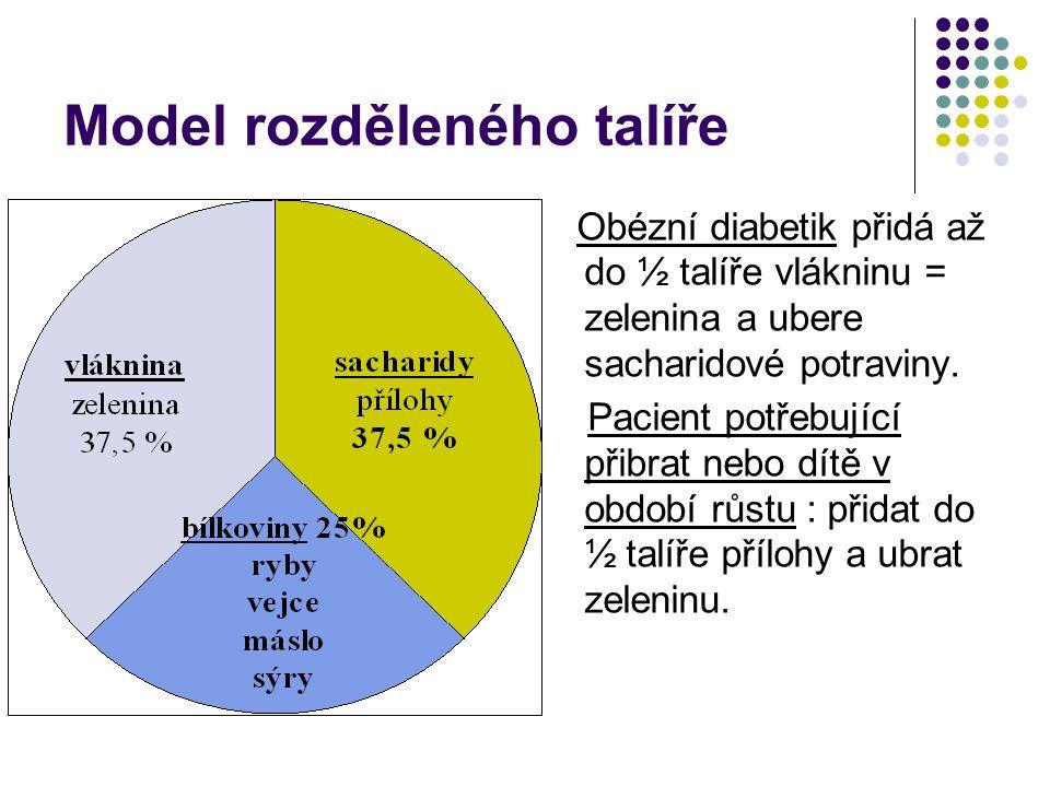Model rozděleného talíře Obézní diabetik přidá až do ½ talíře vlákninu = zelenina a ubere sacharidové potraviny. Pacient potřebující přibrat nebo dítě