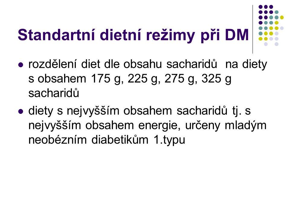Standartní dietní režimy při DM rozdělení diet dle obsahu sacharidů na diety s obsahem 175 g, 225 g, 275 g, 325 g sacharidů diety s nejvyšším obsahem