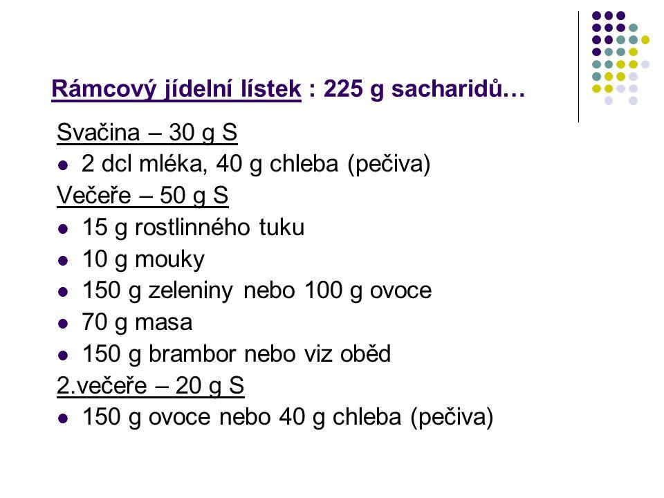 Rámcový jídelní lístek : 225 g sacharidů… Svačina – 30 g S 2 dcl mléka, 40 g chleba (pečiva) Večeře – 50 g S 15 g rostlinného tuku 10 g mouky 150 g ze