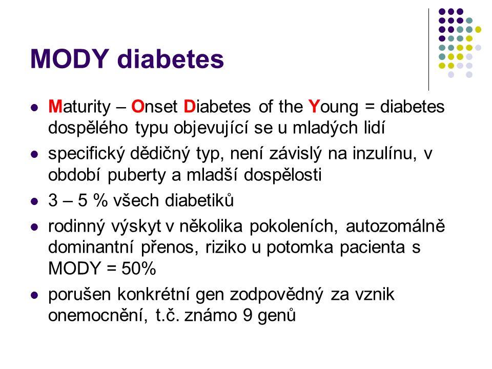 MODY diabetes Maturity – Onset Diabetes of the Young = diabetes dospělého typu objevující se u mladých lidí specifický dědičný typ, není závislý na in