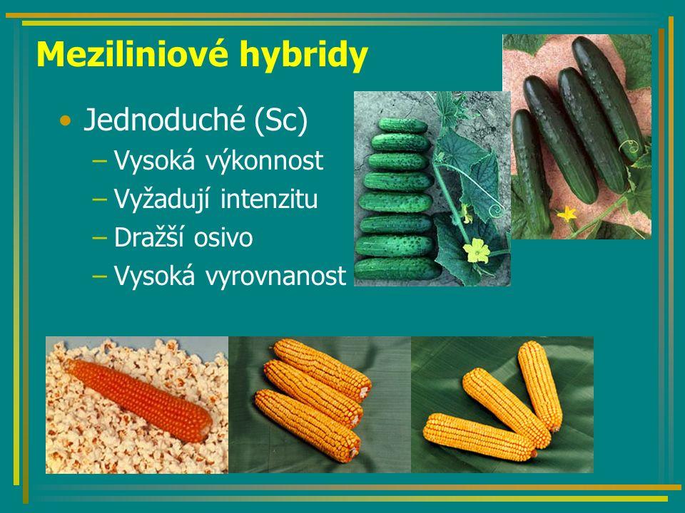 Meziliniové hybridy Jednoduché (Sc) –Vysoká výkonnost –Vyžadují intenzitu –Dražší osivo –Vysoká vyrovnanost