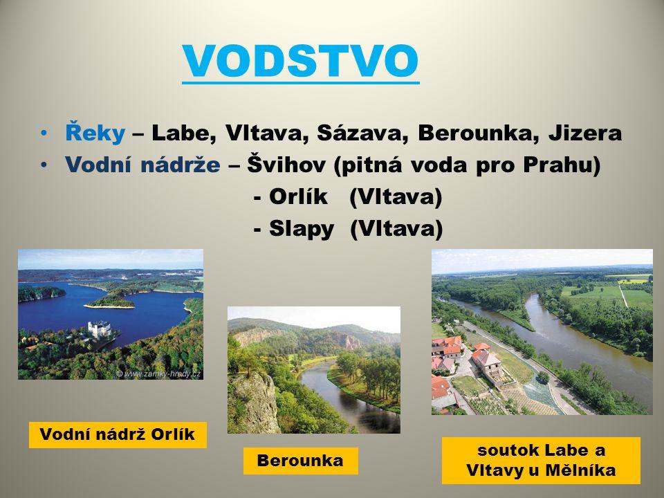 VODSTVO Řeky – Labe, Vltava, Sázava, Berounka, Jizera Vodní nádrže – Švihov (pitná voda pro Prahu) - Orlík (Vltava) - Slapy (Vltava) soutok Labe a Vlt