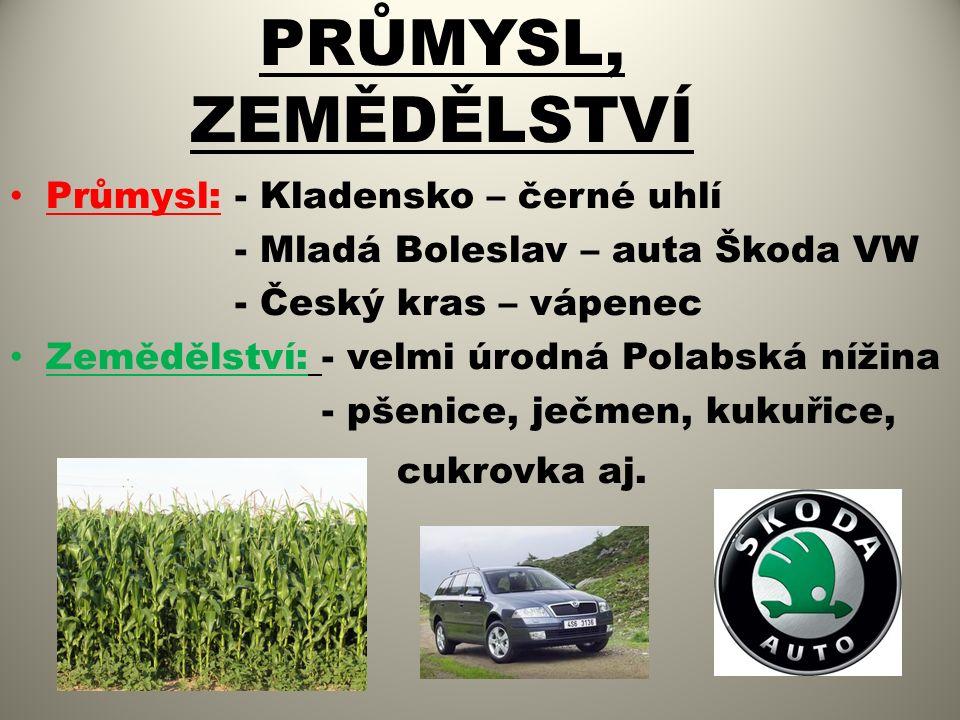 PRŮMYSL, ZEMĚDĚLSTVÍ Průmysl: - Kladensko – černé uhlí - Mladá Boleslav – auta Škoda VW - Český kras – vápenec Zemědělství: - velmi úrodná Polabská nížina - pšenice, ječmen, kukuřice, cukrovka aj.
