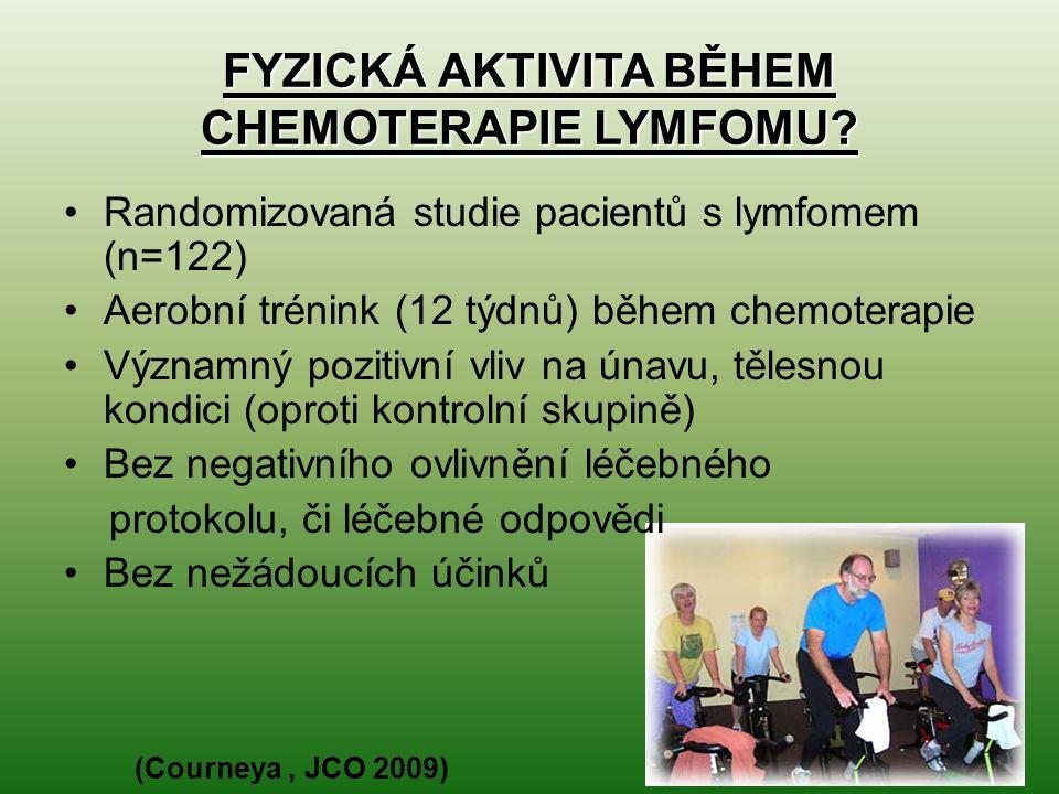 FYZICKÁ AKTIVITA BĚHEM CHEMOTERAPIE LYMFOMU? Randomizovaná studie pacientů s lymfomem (n=122) Aerobní trénink (12 týdnů) během chemoterapie Významný p