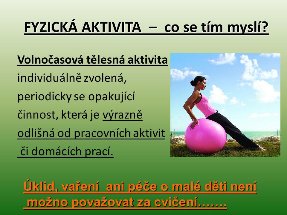 FYZICKÁ AKTIVITA – co se tím myslí? Volnočasová tělesná aktivita individuálně zvolená, periodicky se opakující činnost, která je výrazně odlišná od pr