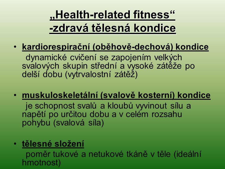 """""""Health-related fitness -zdravá tělesná kondice kardiorespirační (oběhově-dechová) kondice dynamické cvičení se zapojením velkých svalových skupin střední a vysoké zátěže po delší dobu (vytrvalostní zátěž) muskuloskeletální (svalově kosterní) kondice je schopnost svalů a kloubů vyvinout sílu a napětí po určitou dobu a v celém rozsahu pohybu (svalová síla) tělesné složení poměr tukové a netukové tkáně v těle (ideální hmotnost)"""