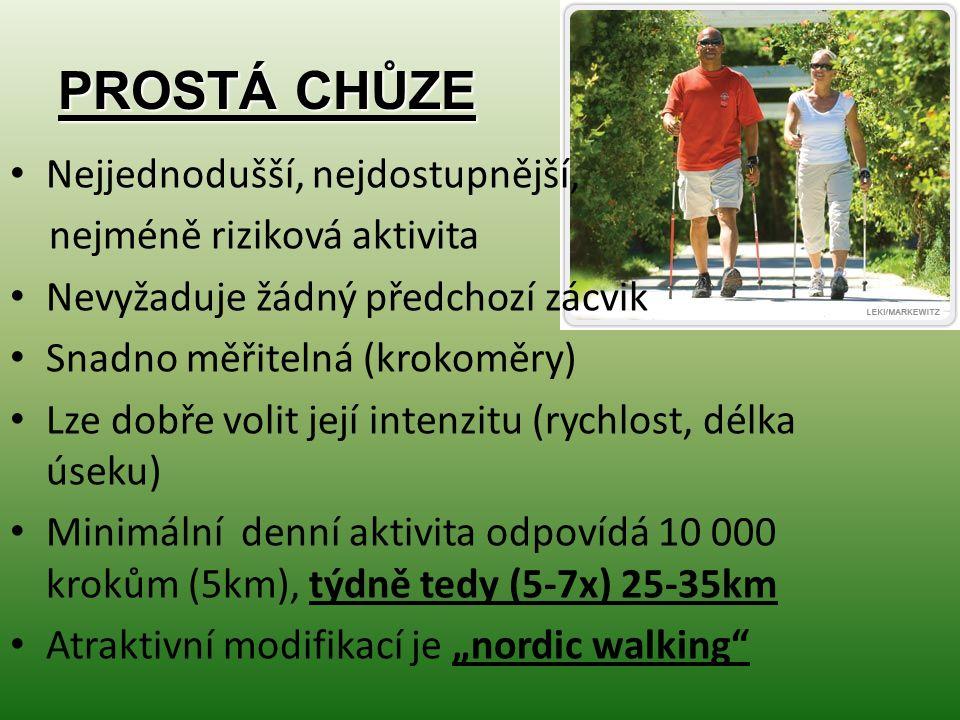 """PROSTÁ CHŮZE Nejjednodušší, nejdostupnější, nejméně riziková aktivita Nevyžaduje žádný předchozí zácvik Snadno měřitelná (krokoměry) Lze dobře volit její intenzitu (rychlost, délka úseku) Minimální denní aktivita odpovídá 10 000 krokům (5km), týdně tedy (5-7x) 25-35km Atraktivní modifikací je """"nordic walking"""