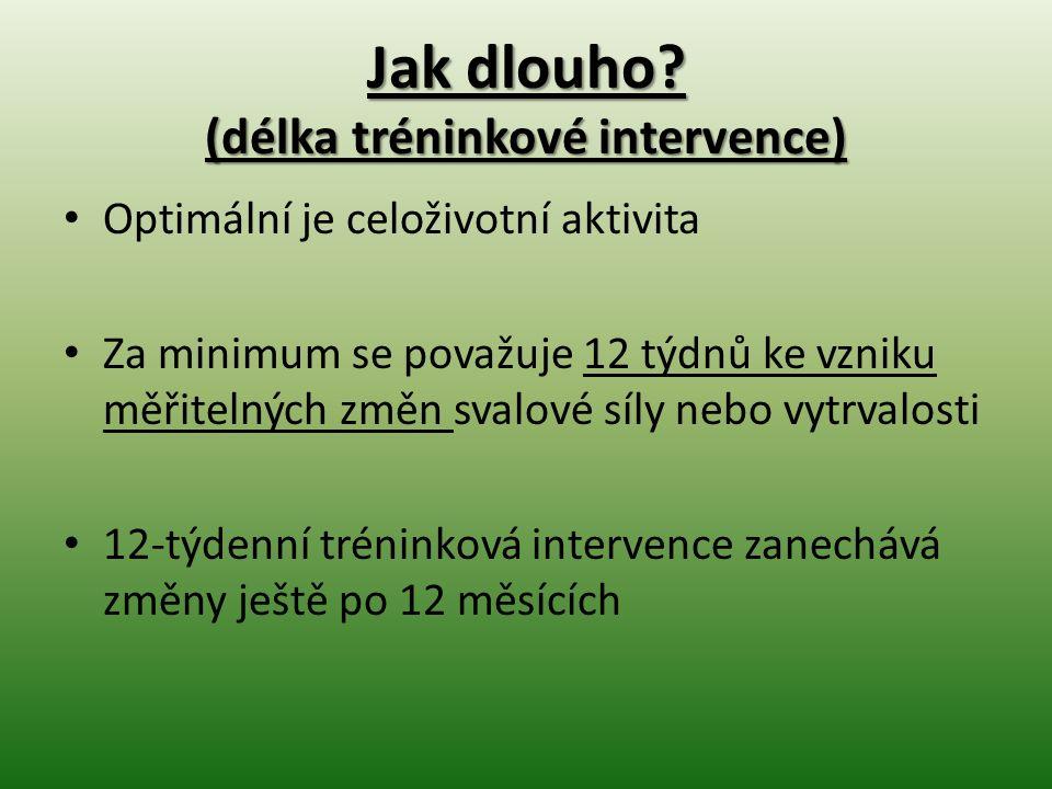 Jak dlouho? (délka tréninkové intervence) Optimální je celoživotní aktivita Za minimum se považuje 12 týdnů ke vzniku měřitelných změn svalové síly ne